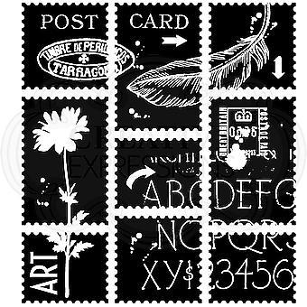 Madera Clear Singles Hojas postales 4 en x 4 en sello