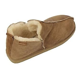 Men's Boot Style Sheepskin Slipper With Antique Leather Finish, Brown