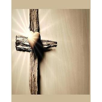 Heart and the Cross Christian Inspirational Notebook - 100 Pages 8.5&q