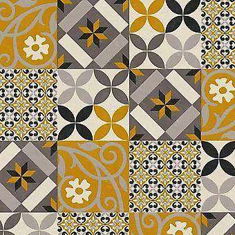 Papel de parede amarelo de mosaico ASC