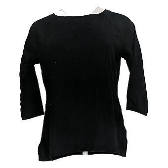 Isaac Mizrahi En direct! Women's Top Essentials Raglan 3/4 Manches Noires A367690