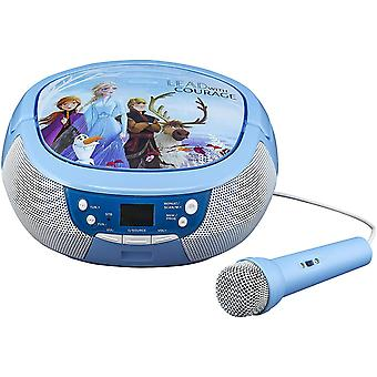 DZK Frozen 2 CD Boombox with FM Radio & Real Microphone, Blue