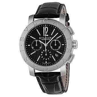 Bvlgari Bvlgari Black Dial Chronograph Black Leather Automatico Uomo Orologio BB42BSLDCH