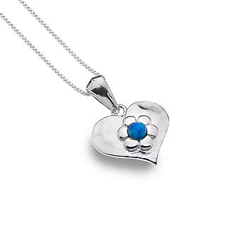 Sterling Silver Pendant Necklace - Origins Heart + Flower + Blue Synthetic Opal
