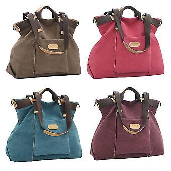 Women canvas solid pu trim zipper fastening casual crossbody handbag