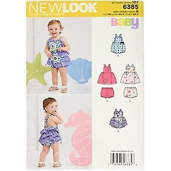 New Look Sewing Pattern 6385 Babies Infant Romper Dress Size NB-L Euro RN-G