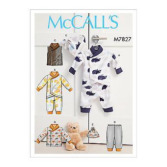 McCalls Schnittmuster 7827 Baby Kleinkind Jacke Weste Hose Größe NB-XL