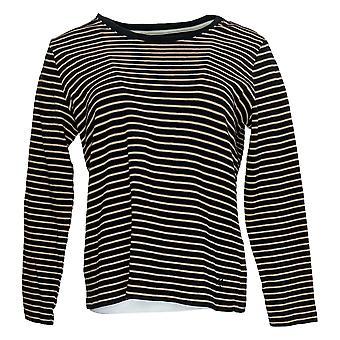 Isaac Mizrahi En direct! Femmes & s Top Striped Scoop Neck Jersey Noir A385423