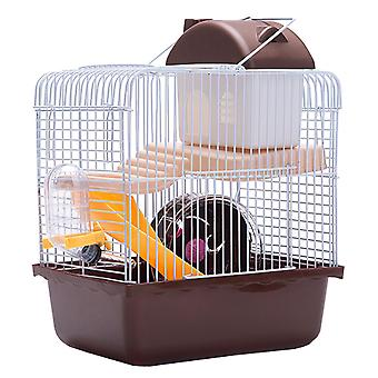 1pc Double Layer Hamster Cage Pet House Acrylic Portable Small Pets House Chinchilla Hamster House (brown)