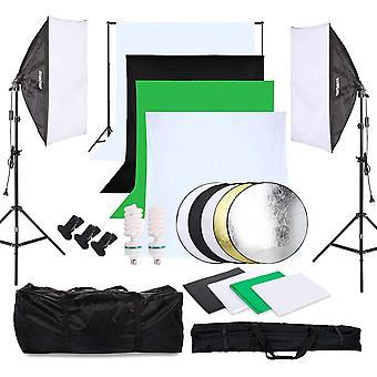 HanFei Fotostudio Set 4X Hintergrundstoff (schwarz, 2X wei, grn), Softbox Studioleuchte Studiosets fr