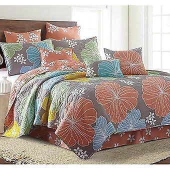 Spura Home Floral Hibiscus Trykt Overgangsordning Full-Queen / King Quilt Set