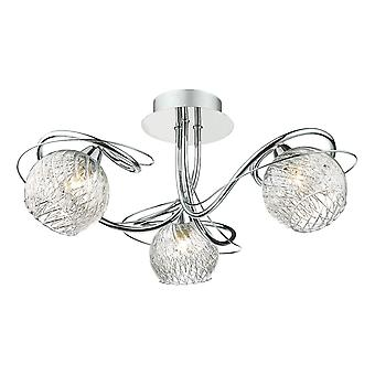 DAR REHAN Halvskyl loft lys dekorativt glas poleret kromramme, 3x G9