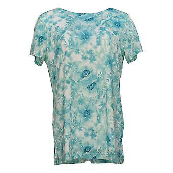 Susan Graver Women's Top Printed Burnout Knit w/ Knit Lining Blue