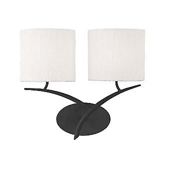 Mantra Eve Double Wall Light In Anthrazit mit weißen Oval Schattierungen