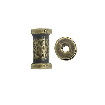 Final Sale - TierraCast Spacer Perle, gehämmertes Rohr 5,5x10,8 mm. 2 Stück, Messingoxid-Finish