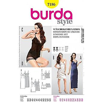 Burda Sewing Pattern 7186 - Misses Night Gowns & Lingerie Set Sizes: 10-30