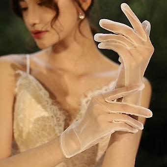 Lyhyt morsian häät pitsi sideharso läpinäkyvät käsineet
