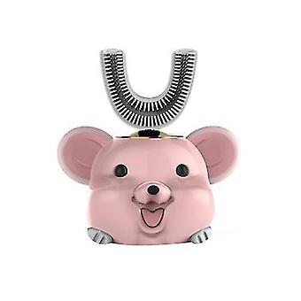 במשך 6-14 שנים מברשת שיניים חשמלית לילדים ורודים, מברשת ניקוי אוטומטית מסתובבת 360'ã