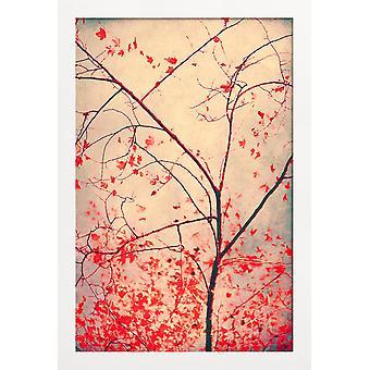 JUNIQE Print - Röd oktober - Trees Poster i Blått & Brunt