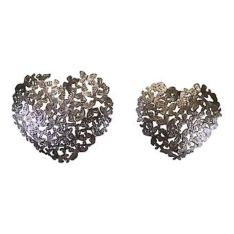 Butterfly Set of 2 Silver Metal Heart Shaped Wall Decorations