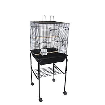 """5924 3/8"""" Bar Spacing Flat Top Small Bird Cage With Stand - 18""""X18"""" In Black"""