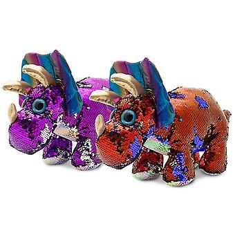 "Doodle 17"" Glitzies Triceratops Magic Sequin Plush, Assorted Colours"