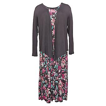 Carole Hochman Petite Dress Elysian Floral Rayon Spandex Pink A302177