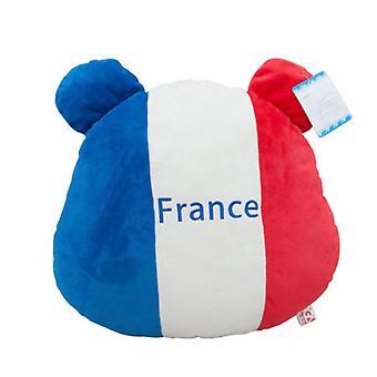 France Flag Bear Plush Lumbar Pillow