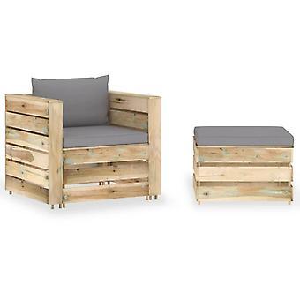 vidaXL 2 szt. Garden Lounge Set z poduszką Zielony Impregnowane drewno