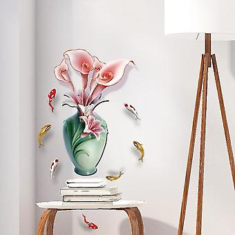 Lily Flower Vase Bedroom Bedside Home Decoration Wall Stickers Decals
