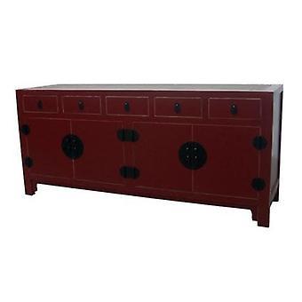 Fine Asianliving kinesiske skænk Rød flettet Bambus W180xD50xH80cm