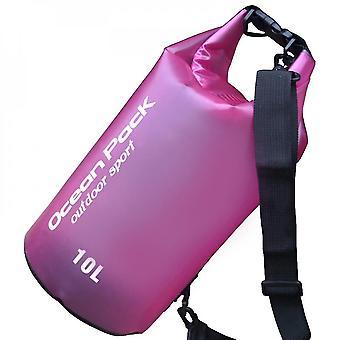 Pink 10l waterproof storage bag dry bag outdoor sports drifting bucket bag beach travel water barrel lc1001