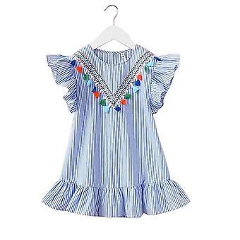 Nyári csíkos pamut csecsemő lányok ruha