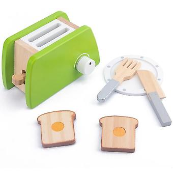 Wooden Kitchen Pretend Play Simulation Coffee Toaster Machine Educational Toys