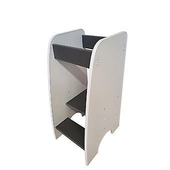 Wieża edukacyjna - Pomoc kuchenna - 90x40x50 cm - schody dla dzieci - biały z szarym