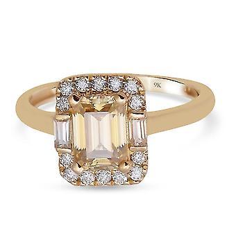 TJC Moissanite Designer Ring 9K Gelbgold Geschenk für ihre 1.26ct (Q)