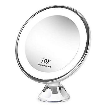 Espelho de maquiagem com ampliação iluminada led, espelho de maquiagem com ventosa, rotação
