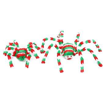 2pcs 50cm لعبة العنكبوت الملونة محشوة الحيوان أفخم لعبة للهالوين زينة الدعائم