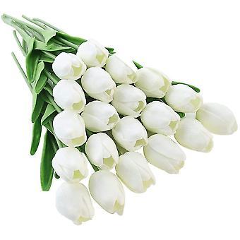 20pcs Künstliche Tulpenblumen Fake Reine weiße Tulpenblumen Hochzeitsstrauß Haus Garten Dekoration