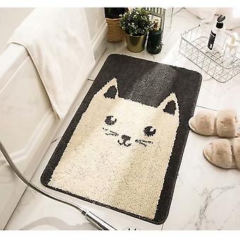 Saugfähiges Fußkissen am Eingang zum Badezimmer, Katze