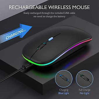 LED vezeték nélküli egér, slim újratölthető vezeték nélküli csendes egér, 2,4g hordozható USB vevővel