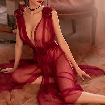 Sexy Vidieť cez ženy Nightgown Sleepshirt Nočná košeľa Chemise Sexy Spodné prádlo Nočné šaty Dlhé biele nočné dámy Nightdress