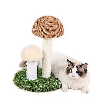 Pet Toy Cat Climbing Frame Tongtianzhu Natural Linen Linen Yellow Large Head + White Mushroom Head