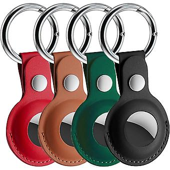 Airtag Holder Pu Leather Keychain For Apple Airtag, 4 Pack Airtags Case Tracker Cover Compatible With Apple New Airtag Dog Collar(multi-color)