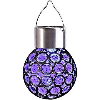 אורות סולאריים צבעוניים, אורות גן דקורטיביים תלויים בחוץ, 7 צבעים הובילו פצפוצי כדור גלובוס בצורת, עבור שביל שביל חצר חצר דשא
