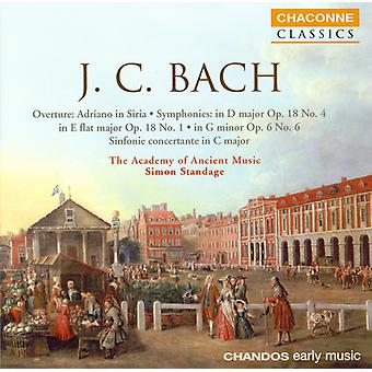 J.C. Bach - J.C. Bach: Ouverture, Adriano in Siria, Symphonies; Sinfonia Concertante en ut majeur [CD] USA import