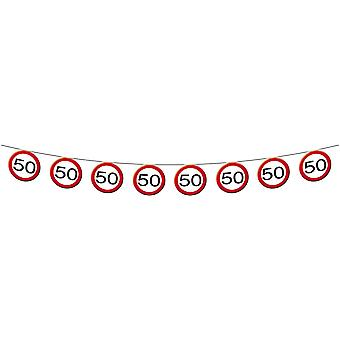 Pennant Garland traffic sign number 50 birthday decoration party