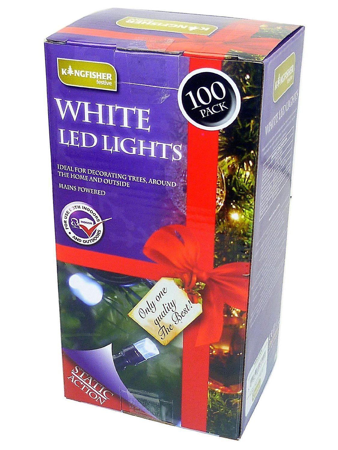 Kingfisher 100 LED White Christmas Tree Indoor And Outdoor Fairy Lights (Mains)
