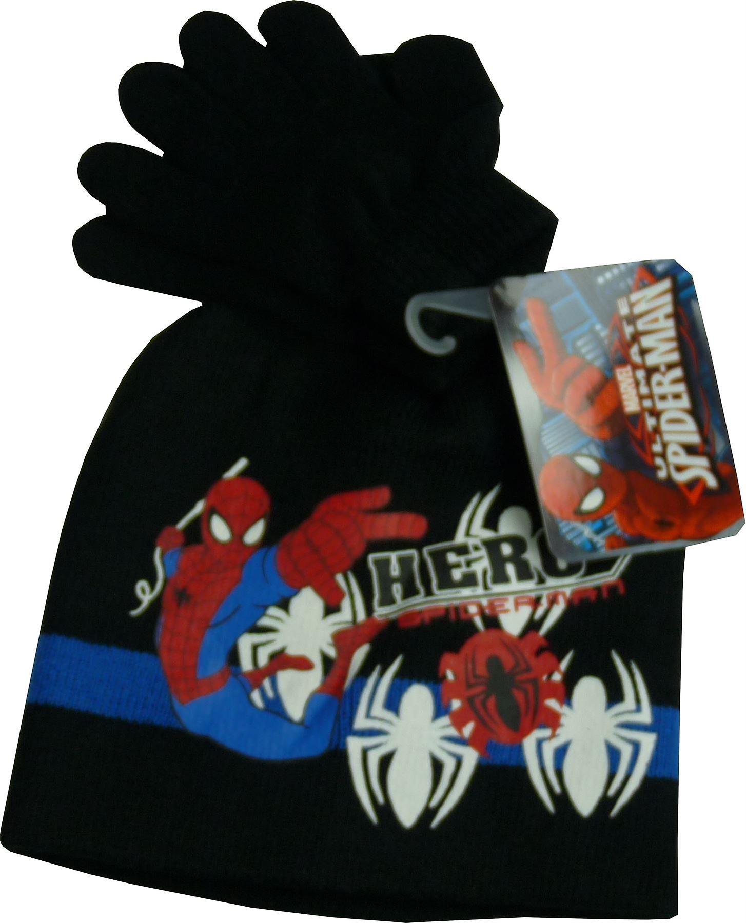 Boys Marvel Spiderman 2 Piece set Winter Beanie Hat & Gloves