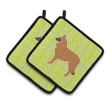 Belgian Shepherd Checkerboard Green Pair of Pot Holders